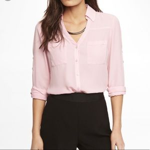 Express pale blush pink portofino blouse